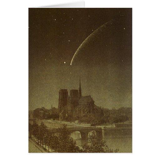 Vintage Astronomy, Donati Comet over Paris, 1858 Card