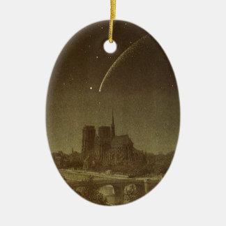 Vintage Astronomy, Donati Comet over Paris, 1858 Ceramic Ornament