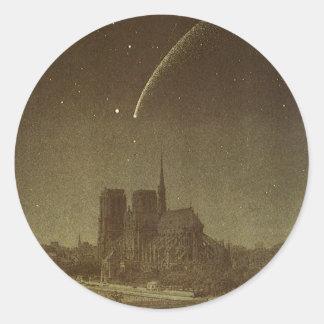 Vintage Astronomy, Donati Comet over Paris, 1858 Classic Round Sticker
