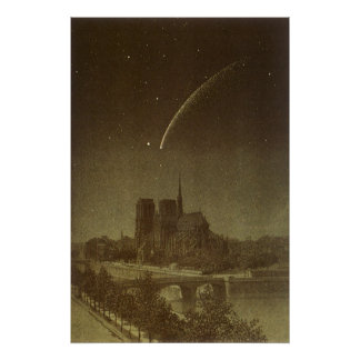 Vintage Astronomy, Donati Comet over Paris, 1858 Poster