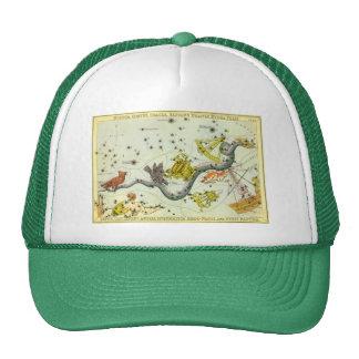 Vintage Astronomy, Hydra Snake Constellation Stars Mesh Hat