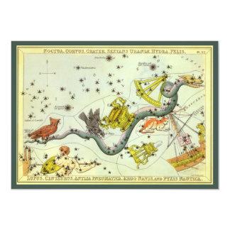 "Vintage Astronomy, Hydra Snake Constellation Stars 5"" X 7"" Invitation Card"