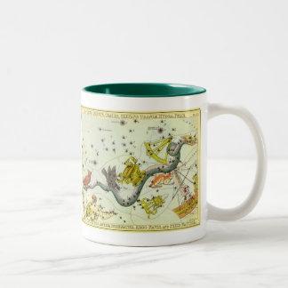 Vintage Astronomy, Hydra Snake Constellation Stars Coffee Mugs