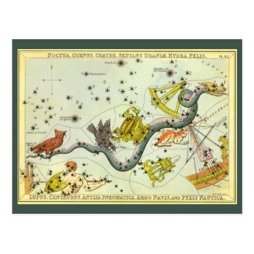 Vintage Astronomy, Hydra Snake Constellation Stars Post Cards