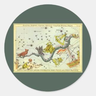 Vintage Astronomy, Hydra Snake Constellation Stars Stickers