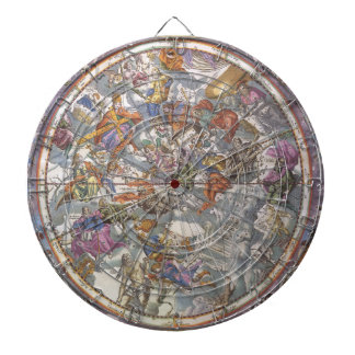 Vintage Astronomy, Map of Christian Constellations Dartboard With Darts