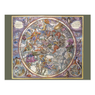 Vintage Astronomy, Map of Christian Constellations Postcard