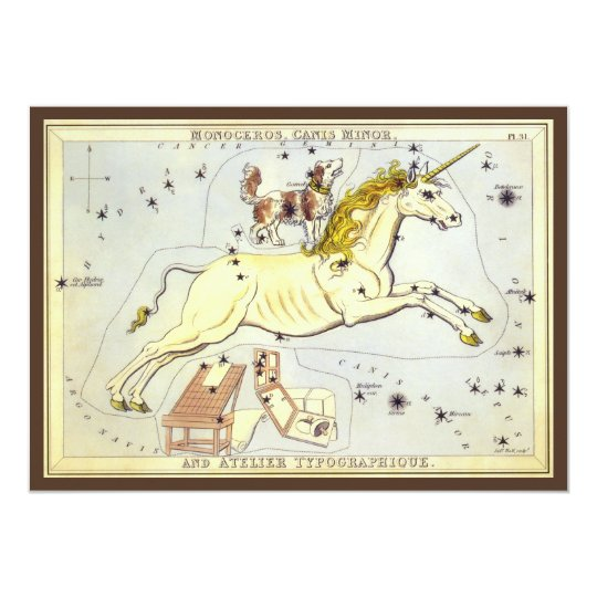 Vintage Astronomy, Monoceros Unicorn Constellation Card