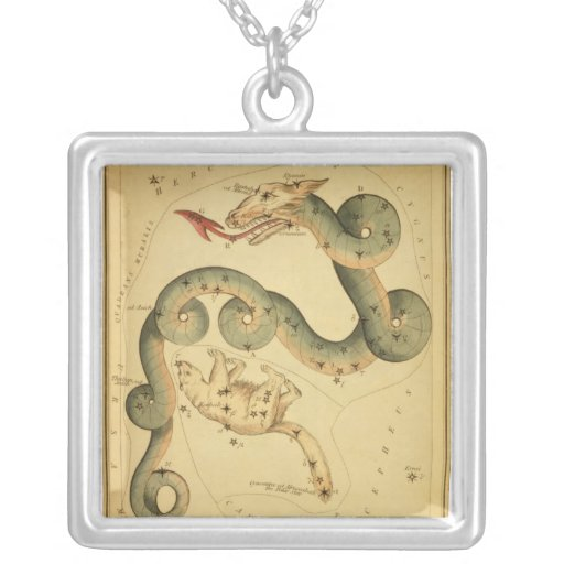 Vintage astronomy print Draco Ursa Minor necklace