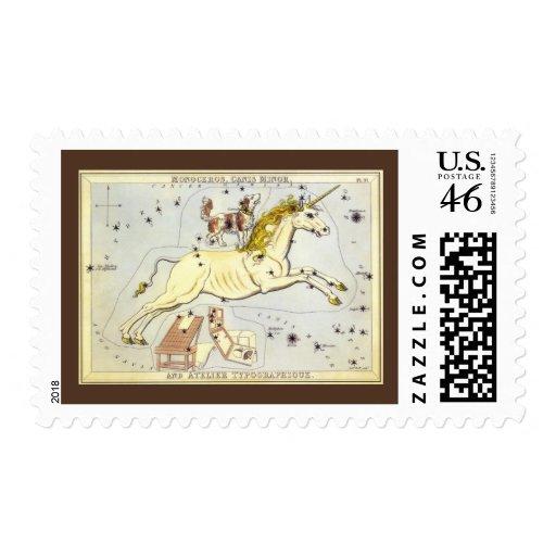 Vintage Astronomy, Unicorn Monoceros Constellation Postage Stamp
