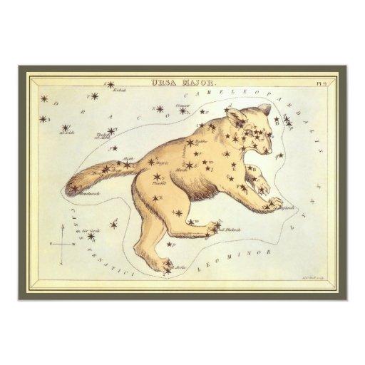Vintage Astronomy, Ursa Major Constellation, Bear Card