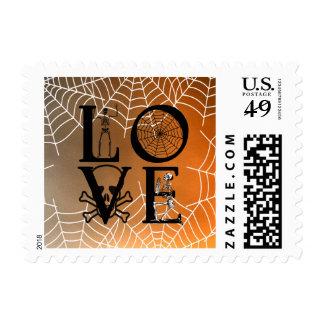Vintage asustadizo del amor de la puesta del sol sello postal