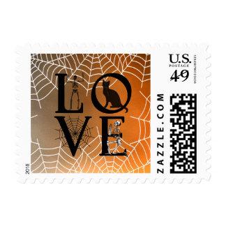 Vintage asustadizo del amor de la puesta del sol sellos postales