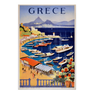 Vintage Athens Greece Travel Poster