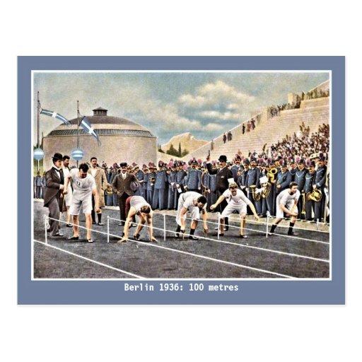 Vintage athletics 100 metres Berlin 1936 Postcard