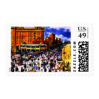 Vintage Atlantic City Boardwalk Crowd Postage