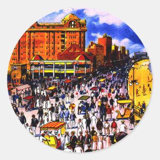 Vintage Atlantic City Train Travel Classic Round Sticker