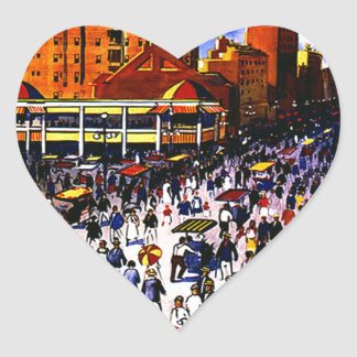 Vintage Atlantic City Train Travel Heart Sticker