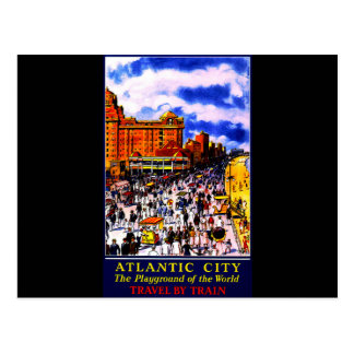 Vintage Atlantic City Train Travel Postcard