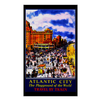 Vintage Atlantic City Train Travel Poster