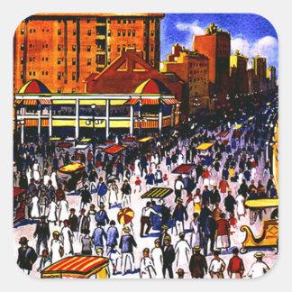 Vintage Atlantic City Train Travel Square Sticker