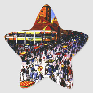 Vintage Atlantic City Train Travel Star Sticker