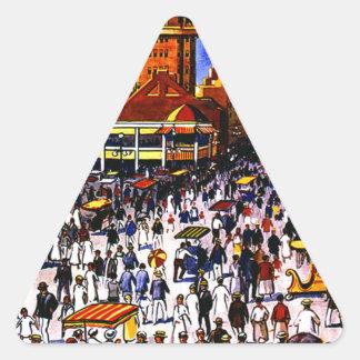 Vintage Atlantic City Train Travel Triangle Sticker