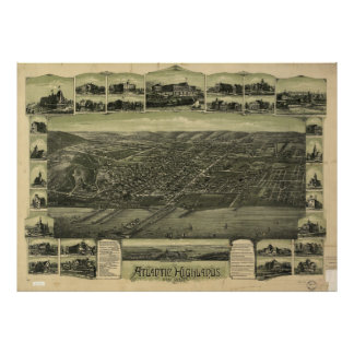 Vintage Atlantic Highlands NJ Map (1894) Poster