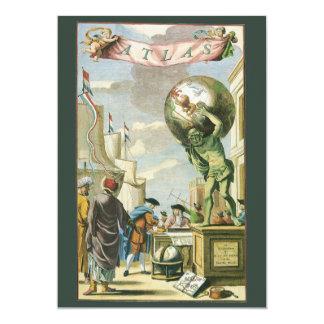 Vintage Atlas Frontispiece, World Globe Card