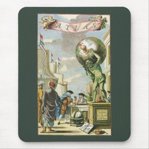 Vintage Atlas Frontispiece, World Globe Mouse Pad