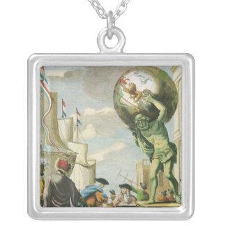 Vintage Atlas Frontispiece, World Globe Square Pendant Necklace
