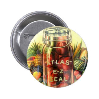 Vintage Atlas Fruit Jar Canning Kitchen Jam Recipe Pinback Button