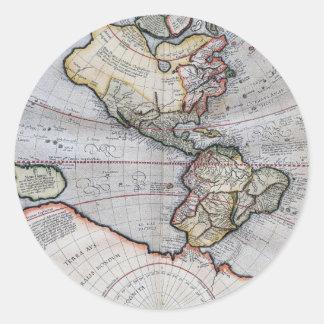 Vintage Atlas World Map Classic Round Sticker