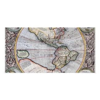 Vintage Atlas World Map Customized Photo Card