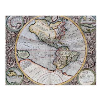 Vintage Atlas World Map Postcard