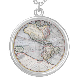 Vintage Atlas World Map Round Pendant Necklace