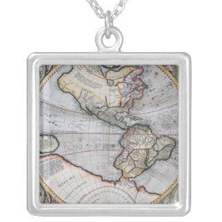 Vintage Atlas World Map Square Pendant Necklace