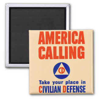 Vintage Atomic Civilin Defense America Callng Magnet