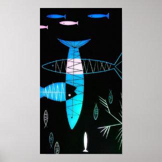 Vintage Atomic Fish Print