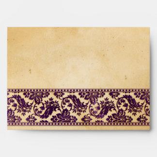 Vintage Aubergine Damask Lace Wedding Envelopes