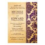 Vintage Aubergine Damask Lace Wedding Personalized Invitation
