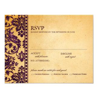 Vintage Aubergine Damask Lace Wedding RSVP Card