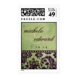 Vintage Aubergine & Olive Damask Lace Wedding Logo Stamp