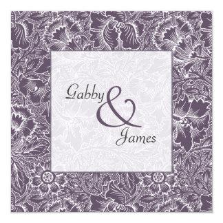 Vintage Aubergine Plum Pattern Wedding Invitation