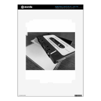 Vintage audio cassette tape on wooden table iPad 3 decals