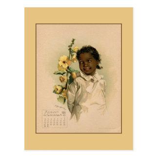 Vintage August 1891 beautiful children drawing Postcard