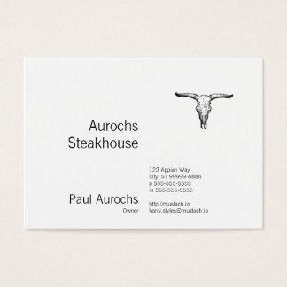 Vintage Aurochs Skull Illustration Business Card