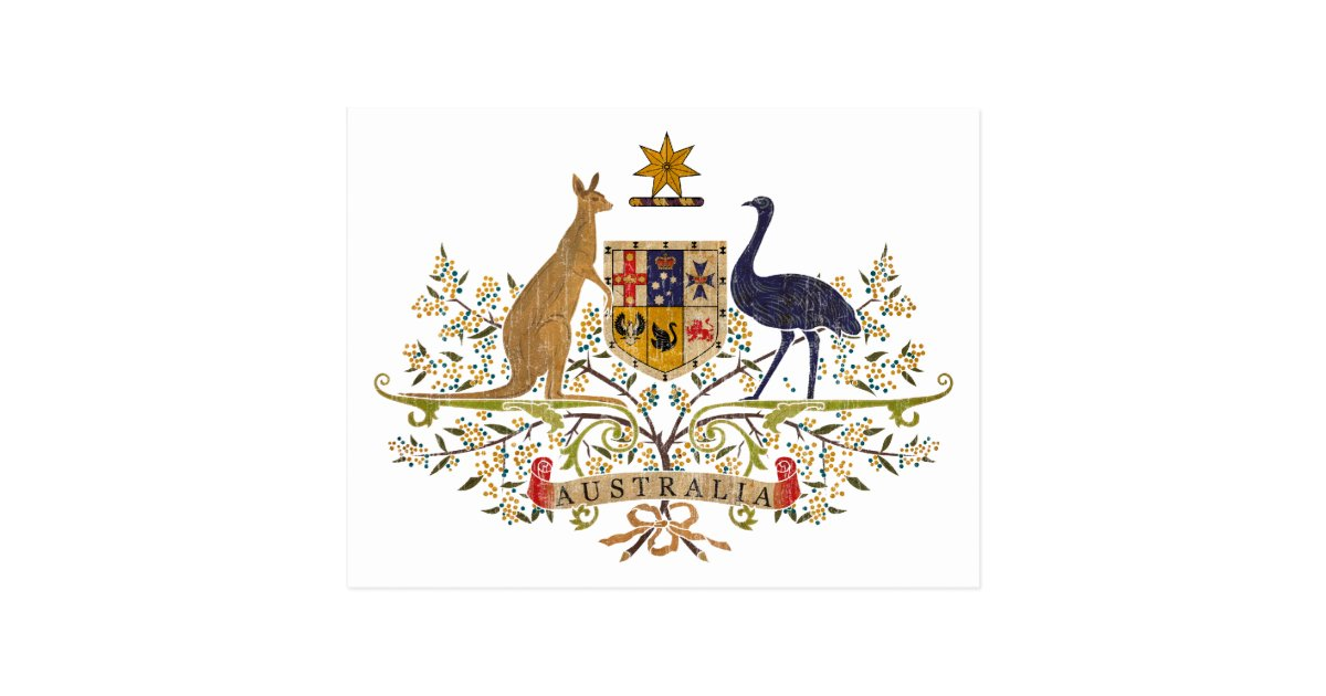 Vintage Australia Coat Of Arms Postcard Zazzle Com