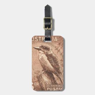 Vintage Australia Kookaburra Bird Luggage Tag