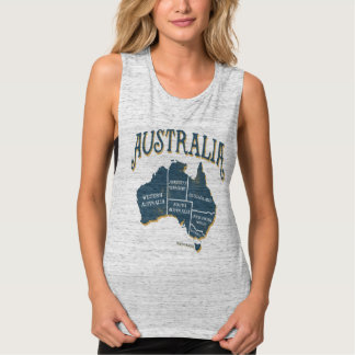 Vintage Australia States Map Tank Top